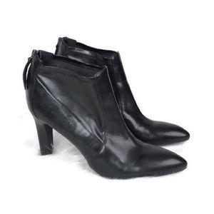 Franco Sarto black leather heel zip booties sz 9